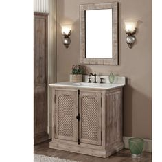 Featuring a quartz white marble top with backsplash and white ceramic sink this vanity and mirror set is a stylish, durable addition to your bathroom.
