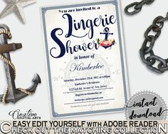 Nautical Anchor Flowers Bridal Shower Lingerie Shower Invitation Editable in Navy Blue, lingerie invitation, instant download - 87BSZ #bridalshower #bride-to-be #bridetobe