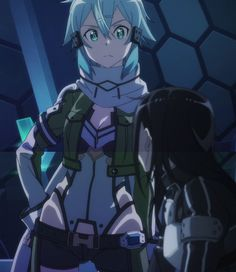 Sinon and Kirito from Sword Art Online GGO (gun gale online) Sinon Ggo, Kirito Asuna, Otaku Anime, Shino Sao, Gun Gale Online, Loli Kawaii, Sword Art Online Kirito, Accel World, Anime Crossover