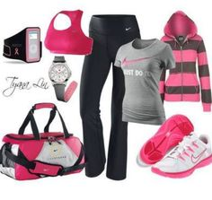 Cut workout outfits-- love the striped hoodie