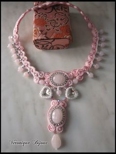 "Necklace soutache "" Soft and sweet"""