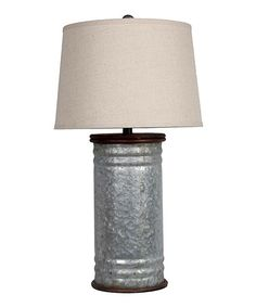 Tin Can Table Lamp by Privilege  #zulily #zulilyfinds * an open tin can design.  (15'' H x 13''D) -Aluminum / fabric -Requires 40 W bulb or 13 W CFL bulb