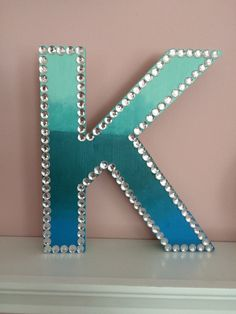 Ombre Wooden Letter With Rhinestone Border by RhinestoneEvrything1