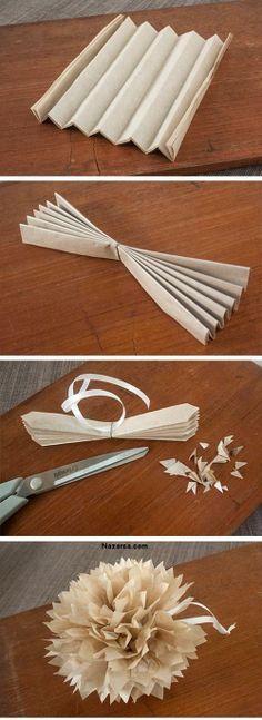 DIY Tissue Paper Pom Poms Craft kagit ponpon dekore KAĞIT PONPONLARDAN DEKORASYON ÖNERİLERİ