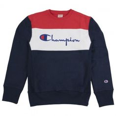 Champion 3 Panel Crew Neck Sweatshirt in Navy / White / Red