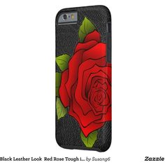 Black Leather Look Red Rose Tough iPhone 6 Case ($44) ❤ liked on Polyvore featuring accessories and tech accessories