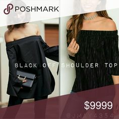COMING SOON Totally chic pleated black off shoulder top. Super cute and on trend. More details to come!   Fabric Content:  100% Polyester   Sizes available:  S M l   LIKE TO BE NOTIFIED Tops