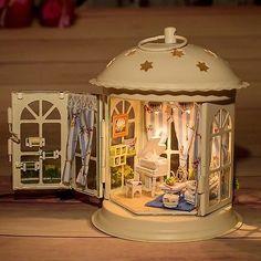 Dollhouse Miniature Metal DIY Kit w/ Light Piano Like a Dream Love Romantic Home