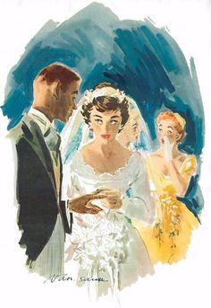 Exchanging rings ~ illustration by Jean Van Saun. Vintage Bridal, Vintage Art, Vintage Romance, Wedding Art, Wedding Bride, Wedding Dress Sketches, Wedding Illustration, Here Comes The Bride, Illustrations