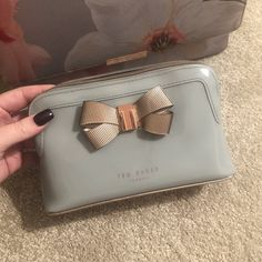 fd8960feb Ted baker Lezlie bow make up bag wash bag. High shine. grey -. Depop