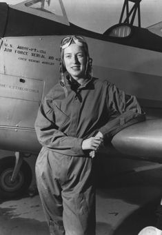 WASP Pilot Cornelia Fort with her PT-19A Plane during World War II.