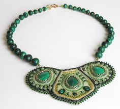 Malachite embroidered necklace