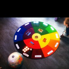 Teacher's pride: my Montessori birthday circle. The children walk One round for each year they are on this earth, holding a globe. Because that's how many times the earth has circulated the sun since their birth. So glad I finally have my own... I like the seasons closer to the sun and then spreading out to the months of the year I also like how the colors represent the year with warm colors on warm months