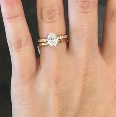 This is perfect. 1.25 carat oval diamond F color SI2 18K rose gold micropave engagement band 18K rose gold wedding band