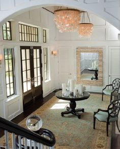 """revenge"" grayson manor foyer love the placement of the mirror. just gives the room a dimensional look! Hampton Beach, French Doors With Sidelights, Victoria Grayson, Grayson Manor, Interior And Exterior, Interior Design, Exterior Windows, Hall Interior, Condo Design"