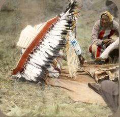 Bear Chief cutting a green hide. Blackfeet. Montana. Early 1900s. Glass lantern slide by Walter McClintock. Source -Yale Collection of Western Americana, Beinecke Rare Book and Manuscript Library.