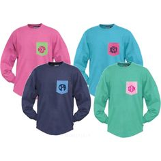 Marleylilly.com Monogrammed Colorblock Pocket Pullover Jersey by marleylilly on Polyvore