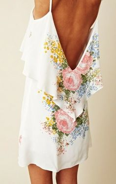 dress white backless floral pretty white dress backless white dress flowers peach yellow blue nude pastel colours