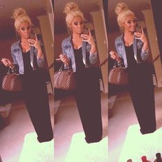 The hair, the jacket, the maxi.... Everything!! I want this outfit now!