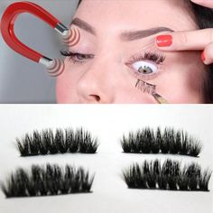 Magnetic False Eyelashes 4pcs (1 Pair) Magnetic Eye Lashes 3D Reusable False Magnet Eyelashes Extension Y725 #Affiliate