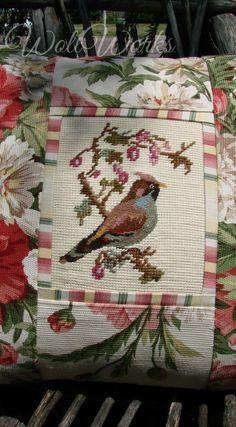 Summer Salvaged Needlepoint Bird PillowSlip www.WollWorks.com Cross Stitch Pillow, Cross Stitch Bird, Cross Stitching, Cross Stitch Patterns, Diy Pillow Covers, Diy Pillows, Cushions, Needlepoint Stockings, Needlepoint Pillows