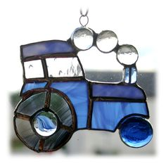Tractor Suncatcher Blue Stained Glass Handmade Farm