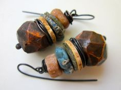 Fatly. Fondly. -primitive assemblage stacked brown faceted ceramic art bead, Roman glass, Leland blue slag glass, trade bead, copper earring by LoveRoot