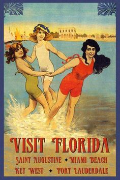 Vintage Florida Miami Key West Girls Beaches Travel Vintage Poster
