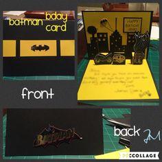 Homemade Batman Birthday Card with pop up Batman stickers (courtesy of Hobby Lobby) and hand cut Gotham City background. JM original :)