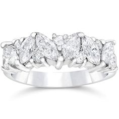Pompeii3 Inc. 1 1/2ct Fancy Marquise Diamond Wedding Ring Womens Stackable Band 14k White Gold