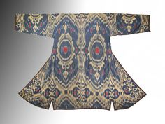 Uzbek-Bukhara national traditional clothes silk cotton ikat adras chapan robe ethnic dress