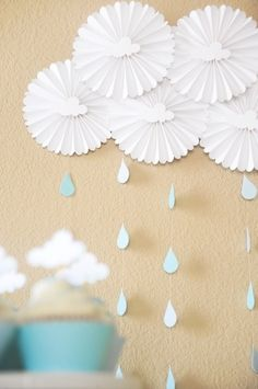 Baby boy shower decorations - looks like cupcake papers, easy enough