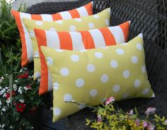 SET OF 4  - Orange and White Stripe & Yellow Polka Dot Indoor / Outdoor  Lumbar / Rectangle Pillows