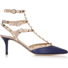 Valentino Rockstud leather pumps (€795) ❤ liked on Polyvore featuring shoes, pumps, heels, valentino, blue, mid heel, valentino shoes, strappy pumps, pointy toe pumps and blue leather pumps