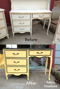 Yellow and black French Provincial desk before and after pictures. Refinished by Kelly's Creations. https://www.facebook.com/pages/Kellys-Creations-Refinished-Furniture/524028237619793