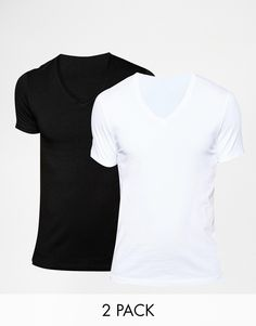 quality design ce8e7 78036 ASOS Muscle Fit T-Shirt With V Neck And Stretch 2 Pack SAVE 17% at asos.com