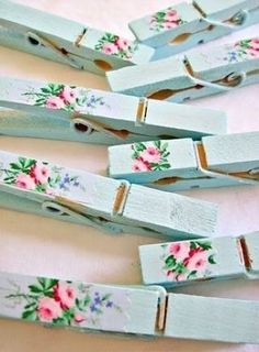 14 things you didn't know you could decoupage: clothes pins. A great cottage-chic addition to your desk for wrangling papers in a pretty way. via @burnettsboards