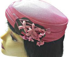 Bright Pink Hat Pillbox with Flowers Women s by EclecticVintager Pink Hat f6e7f1f7a66c