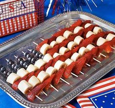 Blueberry, Banana and Strawberry Skewers...Patriotic Food for the 4th of July!   ( Indepdence Day in the U.S. for our international fans)