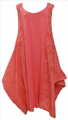 AKH Fashion Lagenlook elegantes Kleid Tunika mit Stickerei in coral XL Mode bei  www.modeolymp.lafeo.de