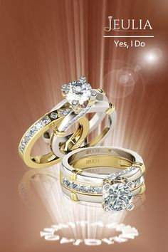 Buy Jeulia Interchangeable Two Tone Round Cut Sterling Silver Ring Set online. Jeulia offers premium quality jewelry at affordable price, shop now! Matching Wedding Bands, Wedding Rings, Diamond Rings, Gold Rings, Emerald Ring Gold, Ring Set, Fashion Rings, Jewelry Sets, Sterling Silver Rings