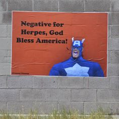 Captain America is Negative For Herpes! Dony by Crummy Gummy in Las Vegas.