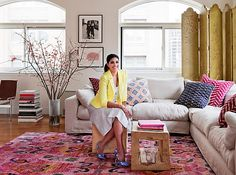 Rachel Roy Home + Pattern Play + Natural Wooden Table Stools + Bright Color Pops