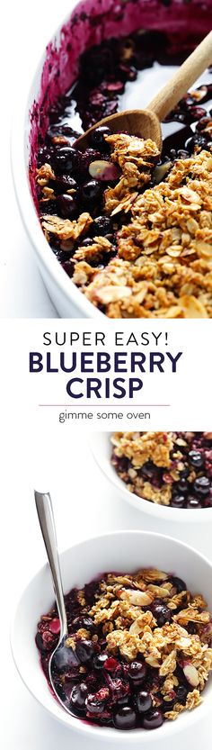 This Easy Blueberry Crisp recipe is simple to make naturally sweetened with fruit and maple syrup and topped with a (naturally gluten-free) delicious almond and oatmeal crisp.