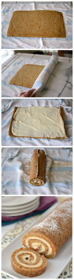 Carrot Cake Roll. Yum! I have made this as a pumpkin roll never thought of carrot cake!!! #food #recipes