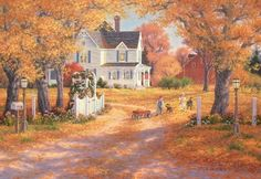 Randy Van Beek Solid-Faced Canvas Print Wall Art Print entitled Autumn Leaves And Laughter Autumn Painting, Autumn Art, Autumn Leaves, Wall Art Prints, Poster Prints, Canvas Prints, Thomas Kinkade, The Ranch, Country Life