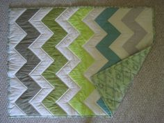 Baby Boy Quilt  Ombre Chevron Blue Green  Grey by thequiltedtulip, $89.00 Except in blues and grays...