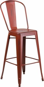 Bistro Style Barstool, Curved Back with Vertical Slat, Drain Holes in Seat, Seat Size: 14''W x 14''D, Distressed Kelly Red Powder Coat Finish, Cross Brace under seat provides extra stability, Footrest, Protective Rubber Floor Glides, Lightweight Design, Designed for Indoor and Outdoor Use, Designed for Commercial and Residential Use