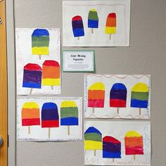 Color mixing popsicles! 1st graders used primary colors to mix and discover how to make secondary colors! They added popsicle sticks and a variety of lines to make a frame!