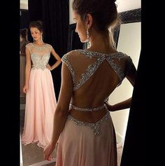 Charming Pink Chiffon Beading Prom Dress,Sexy Short Sleeves Evening Dress,Sexy Backless Prom Dress